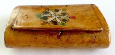 A Victorian Wooden Burr Walnut? Snuff Box With Painted Design On The Top