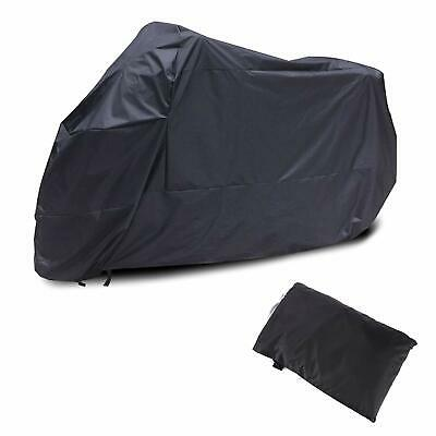 AKORD Motorcycle Waterproof UV Protective Cover with Storage Bag, Black, XL