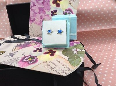 Blue Star Large Earrings In Gift Box NEW Christmas Gift Stocking Filler