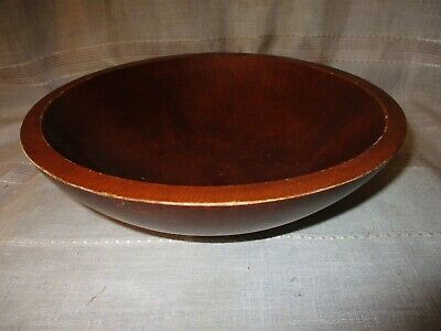"Vintage Antique Hand Turned Wood Dough Bowl Out of Round Farmhouse 10"" Diameter"