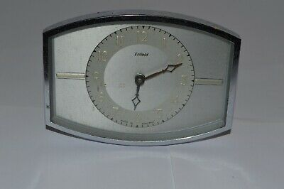 Art Deco Period Enfield  Mantle Bedroom Clock Chrome And Metal