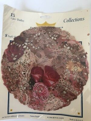 "VTG ROYAL LACE Roses Floral Lace PRINT DOILIES 15 pieces 8"" Round  NEW USA"