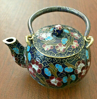 Chinese Cloisonne Teapot Bronze Brass Copper Enamel Blue Cherry Blossom & Birds