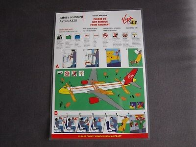 Caledonian Airways Airbus A320 Safety On Board Card