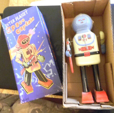GSR ROBOTER Blechspielzeug SPACE CAPTAIN Vintage TIN TOYS OVP BOXed Wind UP Toy