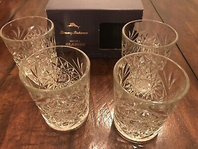 TOMMY BAHAMA Set of 4 Etched Star Glasses Crystal Style Old Fashioned Whisky Bar