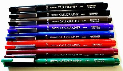 Marvy Calligraphy Marker Writting Color Pen 2mm/3.5mm/5mm 7 Colors ( Set of 8)