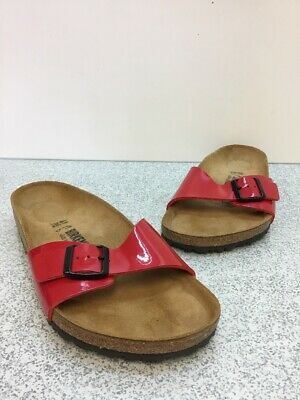 30b276bc62a21 Birkenstock Madrid Tango Red Patent Buckle Slide Sandals Women's Size 41