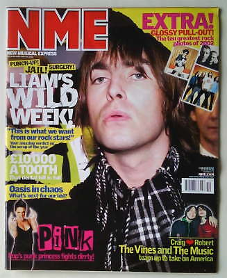NME 14 December 2002, OASIS, LIAM GALLAGHER RARE ROCK PHOTOS OF 2002
