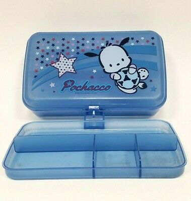 2001 Sanrio Pochacco Soccer Dog Blue Plastic Pencil Case School Supplies Box