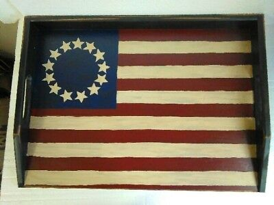 Primitive Stove Cover Noodle Board Hand Crafted Colonial Flag Americana