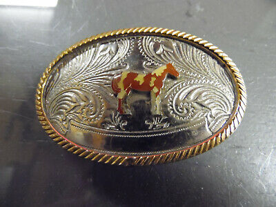 "Vintage Horse German Silver 3"" Belt Buckle"
