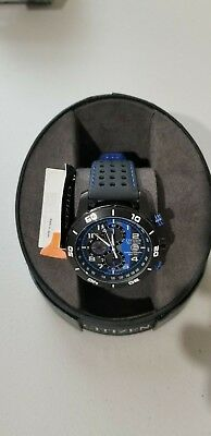 Citizen CA0467-03E Eco-Drive Men's Leather watch Black Blue New
