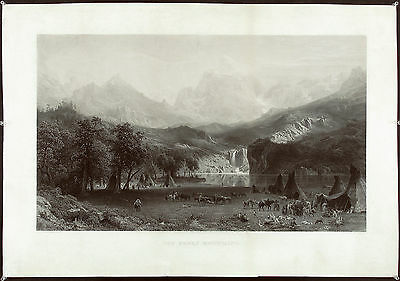 A. BIERSTADT Antq Mid 19thC 1866 XRARE Engraving THE ROCKY MOUNTAINS, J. SMILLIE