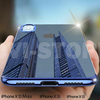 COVER CUSTODIA PER IPHONE XR XS MAX 7 8+ TPU SILICONE PLATING ULTRA SLIM + Vetro