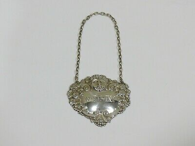 Vintage Mappin & Webb Sterling Silver Liquor Tag, WHISKY, Bacchus Grapes
