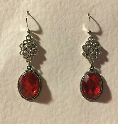 Lacy Filigree Victorian Style Orange Red Acrylic Stones Dk Silver Pl Earrings