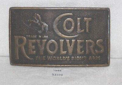 ThriftCHI ~ Indiana Metal Craft Brass Belt Buckle Colt Revolvers