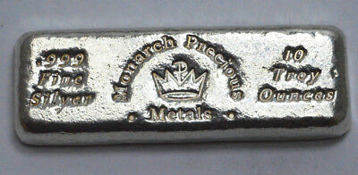 10 Troy Oz 999 Fine Silver Scarce Vintage Monarch Precious Metals Old Poured Bar