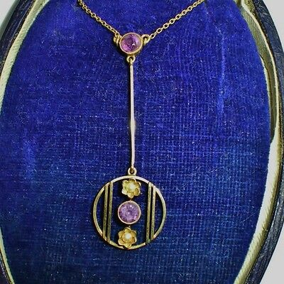 Antique Edwardian 15ct Gold Amethyst & Pearl Drop Pendant Necklace  c1910 + Case