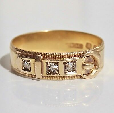 Stunning Antique Victorian 18ct Gold Diamond Buckle Ring c1890; UK Size 'N'