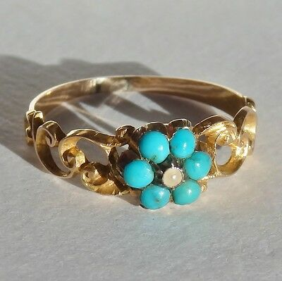 Stunning Antique Georgian 15ct Gold Turquoise & Pearl Cluster Ring c1825