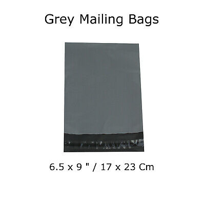 "100 Grey Mailing Bags Postage Strong Waterproof Polythene Mail 6.5 x 9 "" Inch"