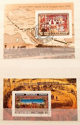 * Railway Trains - 2 Souvenir Mini Sheets Thematic Topical Stamps 14070418 *