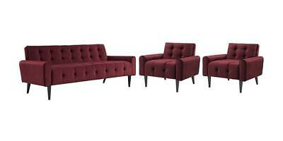 3-Pc Upholstered Living Room Set in Maroon [ID 3799276]