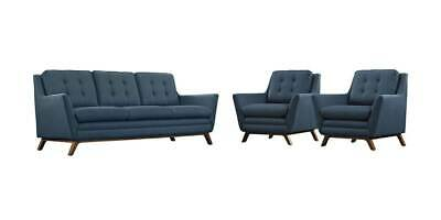 3-Pc Upholstered Living Room Set in Azure Color [ID 3799199]