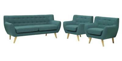 3-Pc Upholstered Living Room Set in Teal Color [ID 3799283]