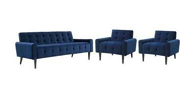 3-Pc Upholstered Living Room Set in Navy [ID 3799277]