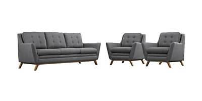 3-Pc Upholstered Living Room Set in Gray Color [ID 3799200]