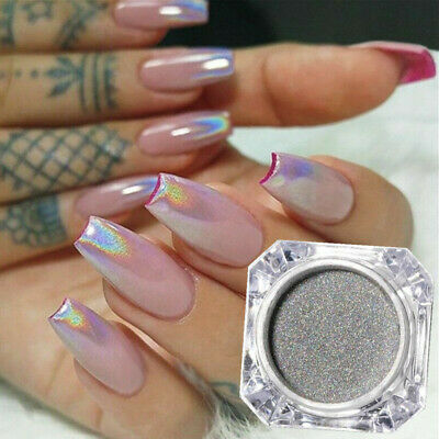 1g Nail Art Holographic Laser Glitter Powder Chrome Rainbow Dust Manicure Tips