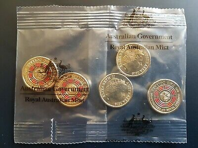 2019 5 x UNC A Hundred Years Of Repatriation Multi Colour $2 Coins, RAM Logo Bag