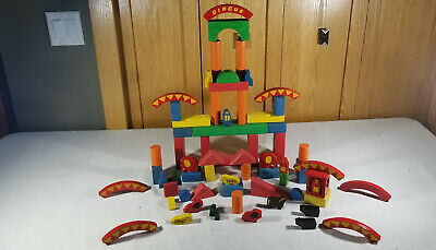 Vintage Lot of Childrens Colored Kids Building Architectural Wood Blocks Circus