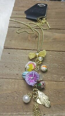 Womans Body Central Gold Long Multicolor Floral Necklace Very Cute Abstract NEW