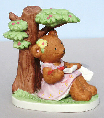 Vintage 1984 Fraser LETTER WRITING GIRL TEDDY BEAR Tree Porcelain Figurine