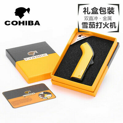Yellow Metal 2 Torch Jet Flame Cigarette Cigar Lighter With Punch COHIBA
