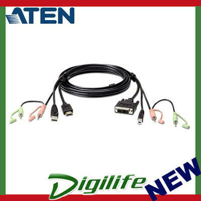 Aten USB HDMI to DVI-D KVM Cable with Audio 1.8M cable 2L-7D02DH