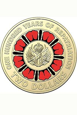 2019 100 Years of Repatriation: Bring them Home: coloured $2 coin UNC