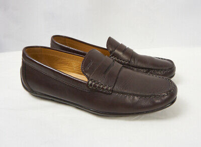 82656fbf5c GEOX Respira Brown Leather Slip on Penny Loafer Driving Mocs Shoes Men 42.5  9.5