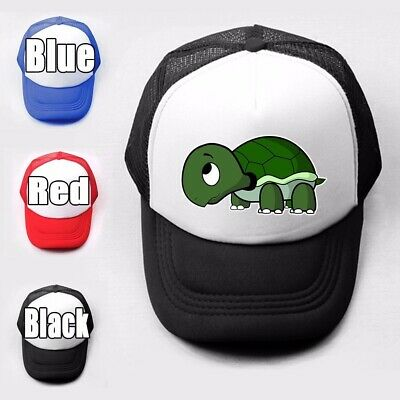 Cartoon turtle Print Girls Boys Plain Trucker Baseball Cap Solid Mesh Curved Hat