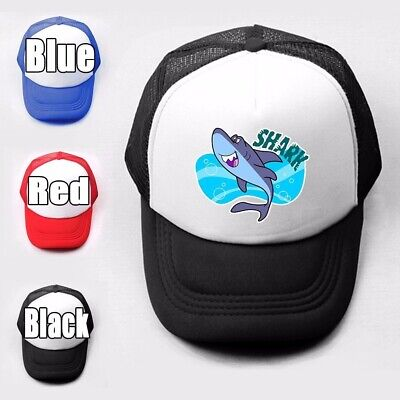 Cute Shark cartoon Girls Boys Plain Trucker Baseball Cap Solid Mesh Curved Hat