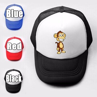 Cartoon monkey Print Girls Boys Plain Trucker Baseball Cap Solid Mesh Curved Hat