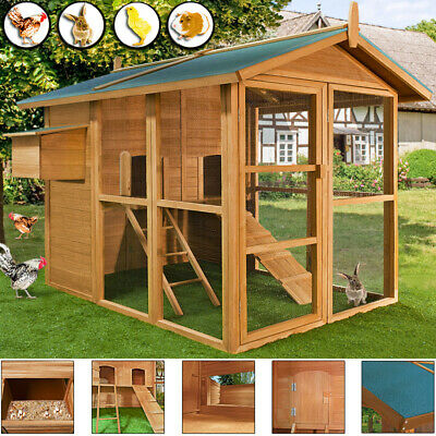 Large Chicken Coop Run House Wooden Hen Poultry Rabbit Hutch  Nest Box Coup Duck