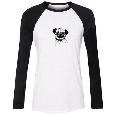 Cute Comic Pug Dog Design Womens Girls Casual T-Shirts Print Graphic Tee Tops