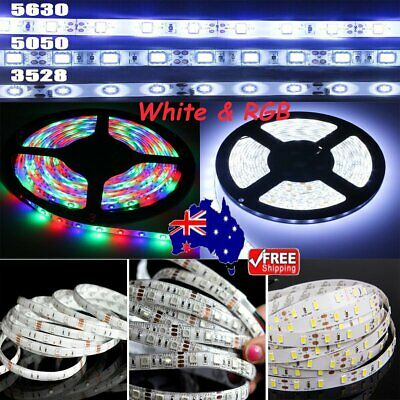 DIY 5-50M 5050 3528 5630 SMD Waterproof LED Flexible Strip Lights 12V White RGB