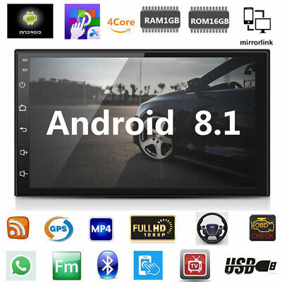 """Android 8.1 Car Stereo GPS Navigation Radio Player Double Din WIFI 7"""" Inch Hot"""