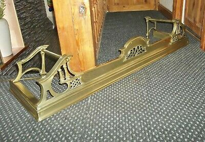 Stunning Antique Victorian Brass Fire Fender Kerb With Reg.no.dating To 1910